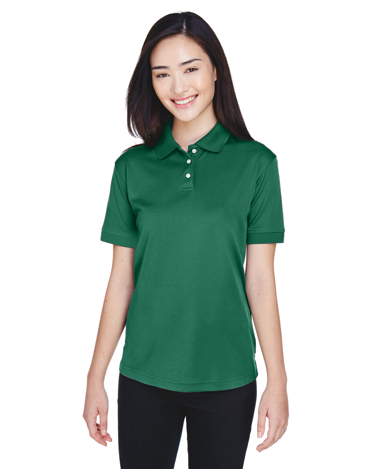 UltraClub Ladies' Platinum Performance Piqué Polo with TempControl Technology FOREST GREEN
