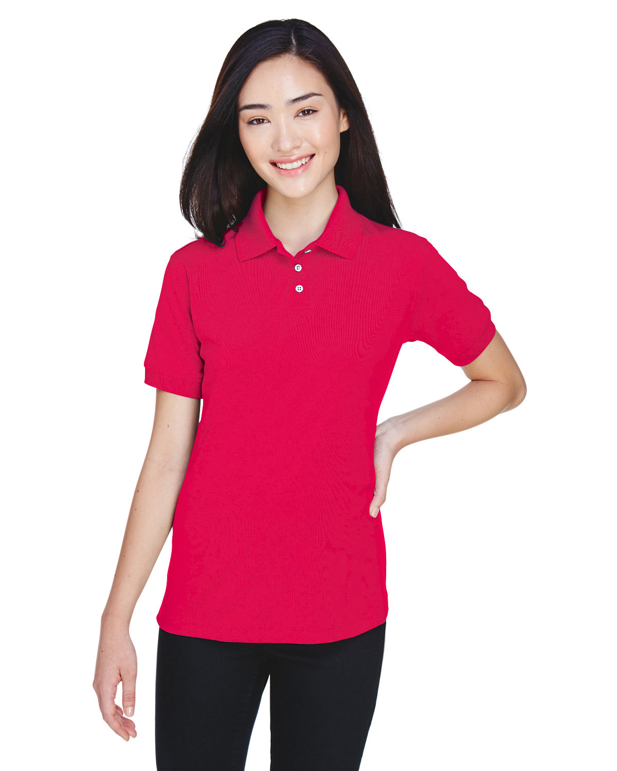 UltraClub Ladies' Platinum Performance Piqué Polo with TempControl Technology RED