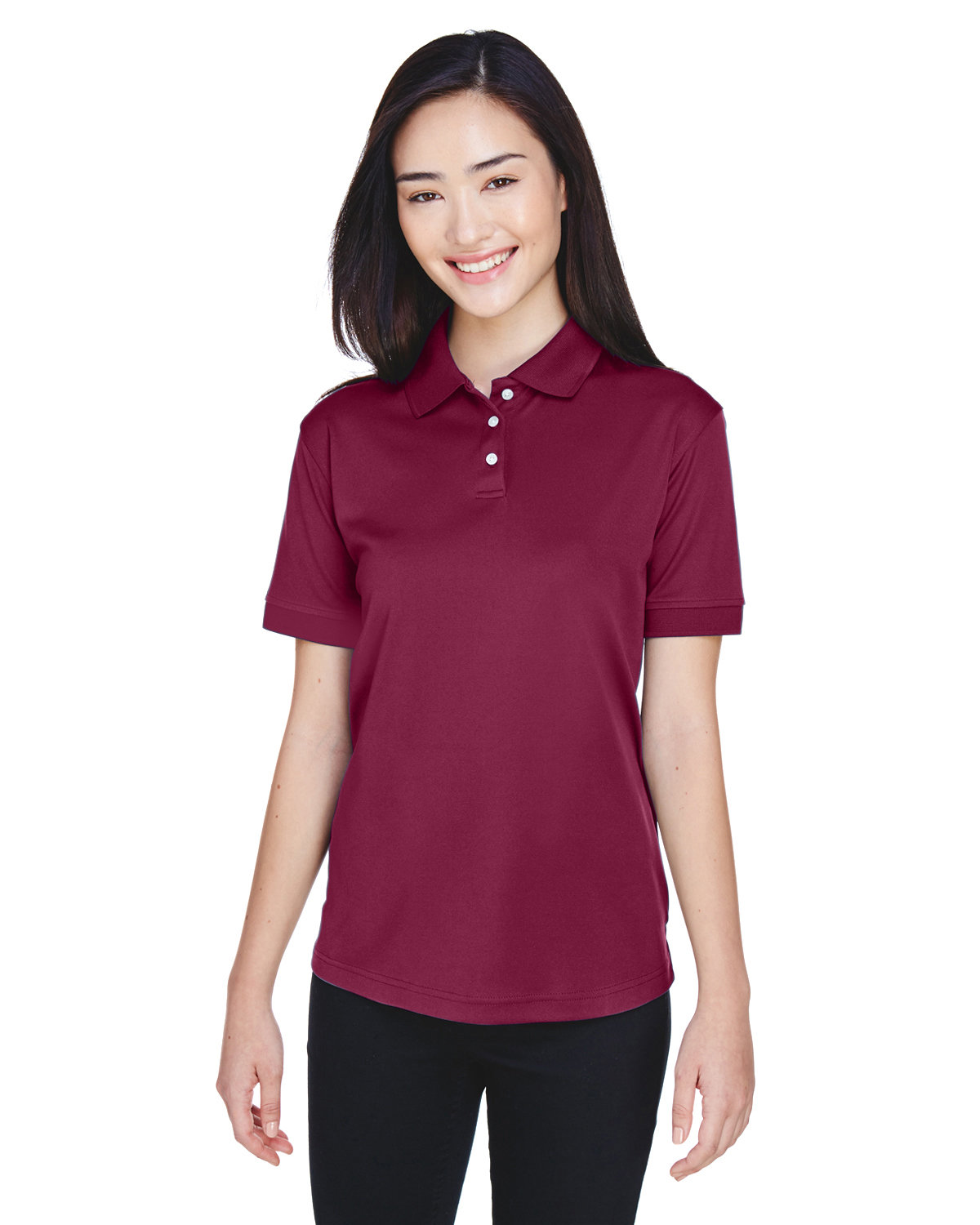 UltraClub Ladies' Platinum Performance Piqué Polo with TempControl Technology MAROON