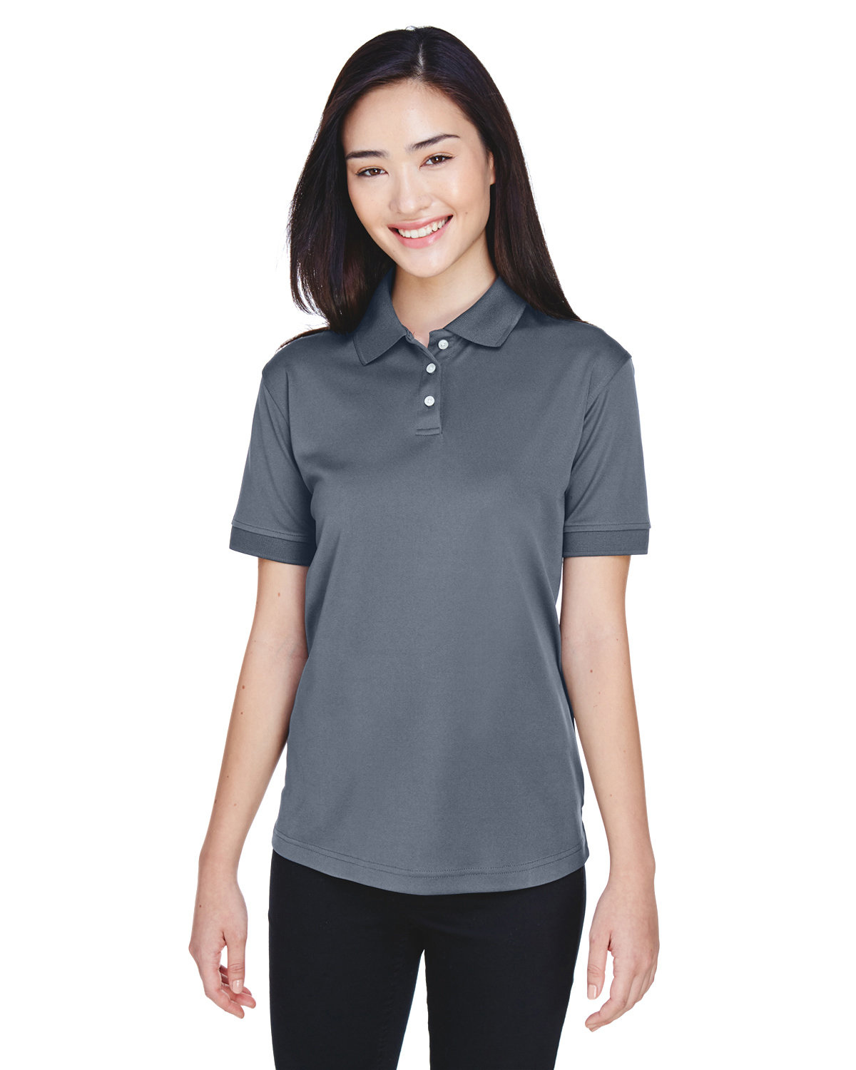 UltraClub Ladies' Platinum Performance Piqué Polo with TempControl Technology CHARCOAL