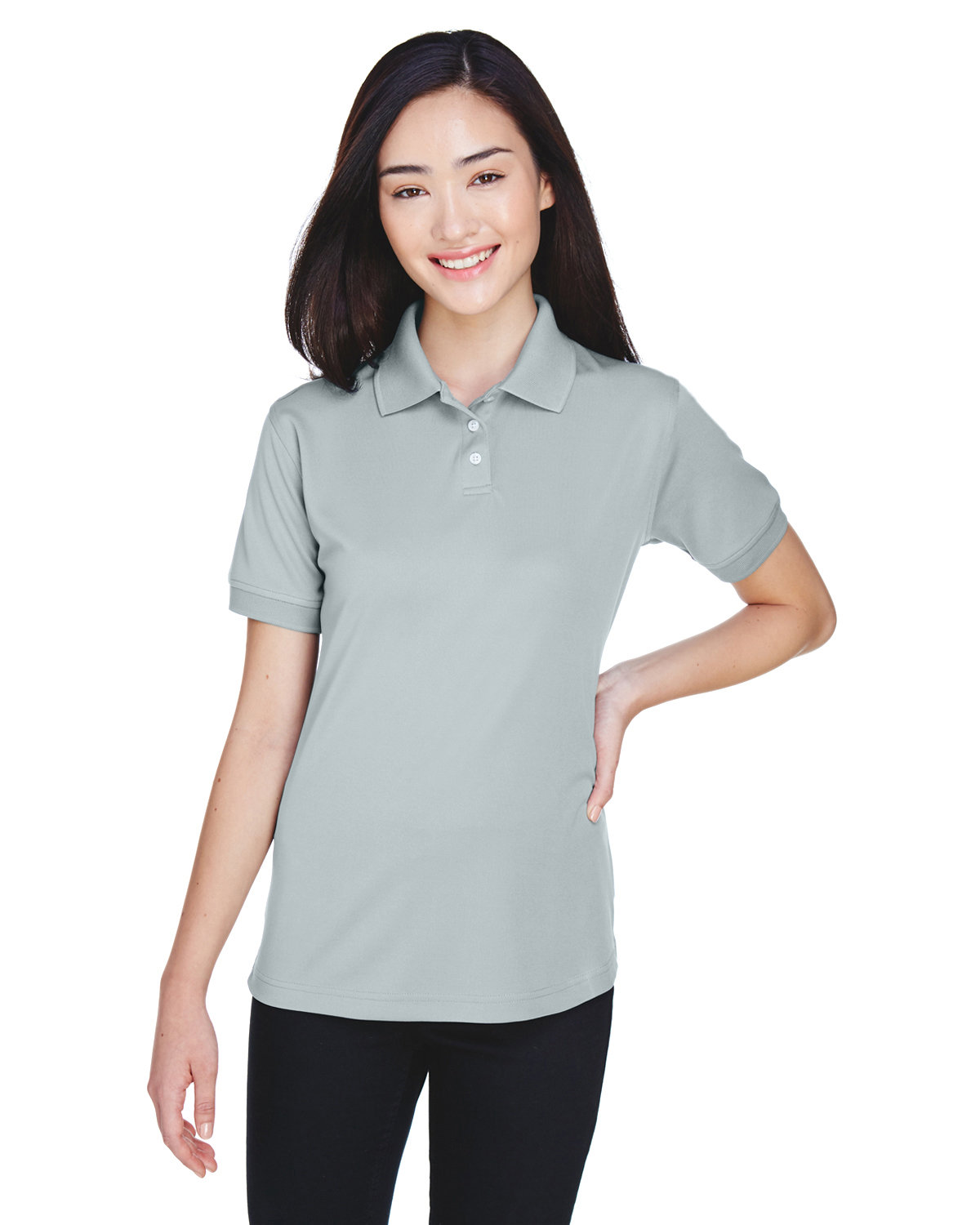 UltraClub Ladies' Platinum Performance Piqué Polo with TempControl Technology GREY
