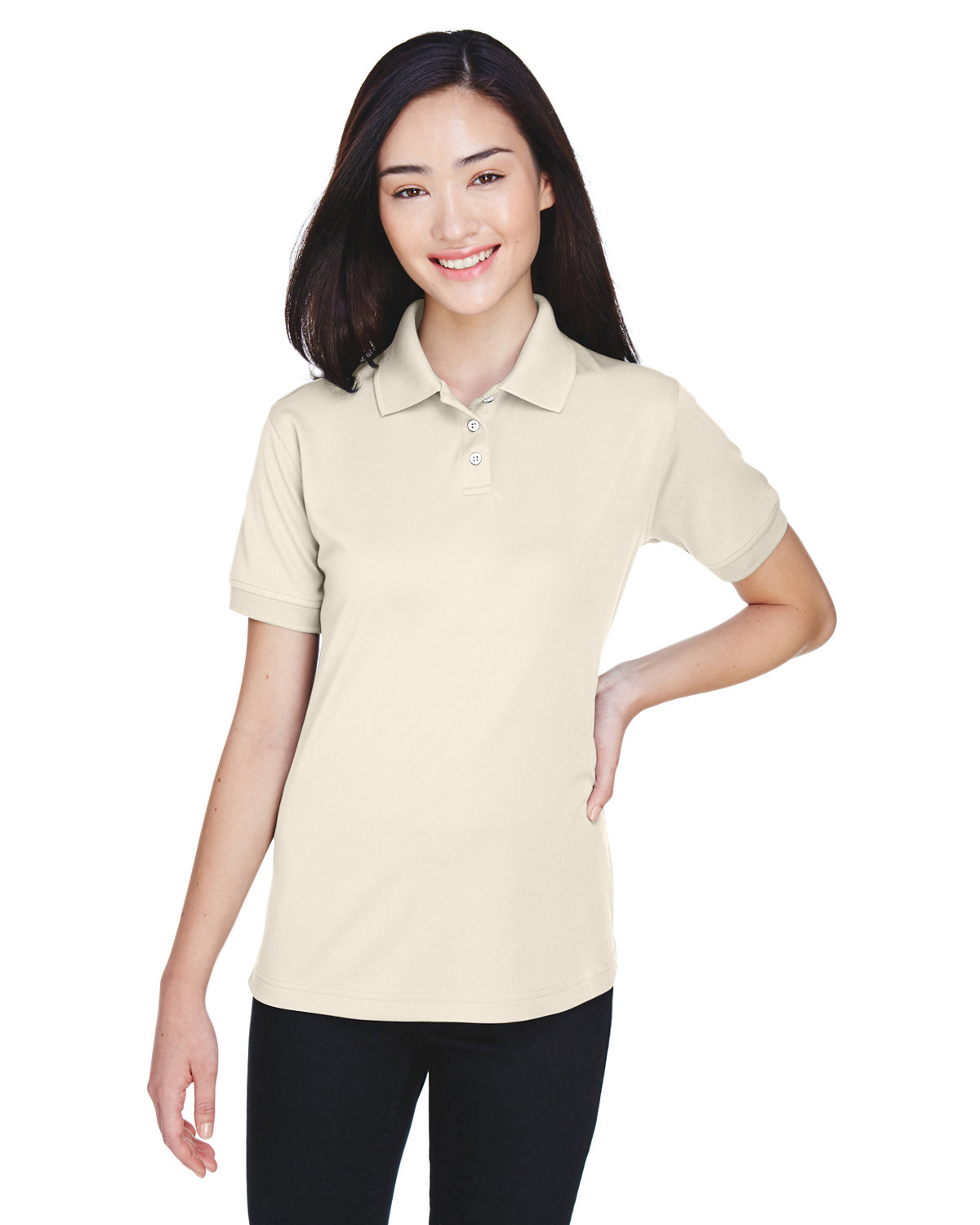 UltraClub Ladies' Platinum Performance Piqué Polo with TempControl Technology STONE