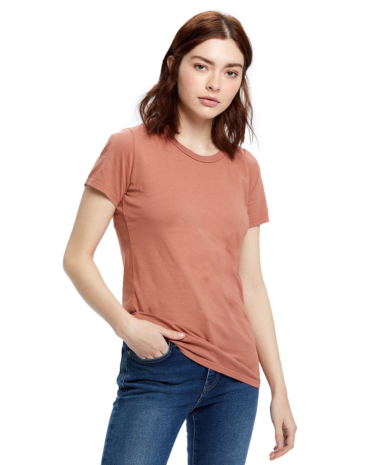 US Blanks Ladies' Made in USA Short Sleeve Crew T-Shirt CINNAMON