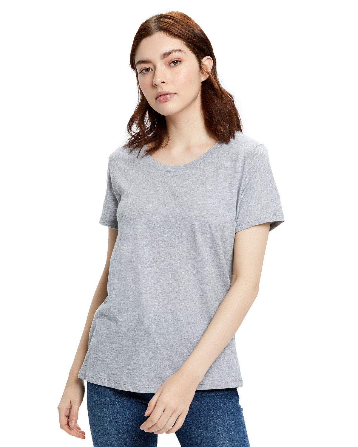 US Blanks Ladies' Made in USA Short Sleeve Crew T-Shirt HEATHER GREY