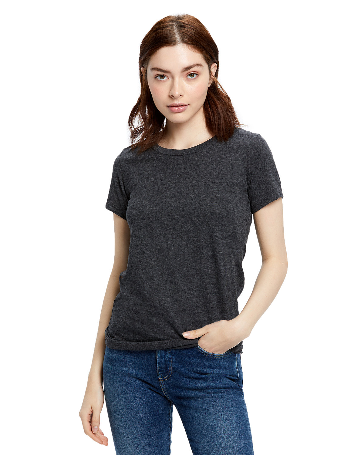 US Blanks Ladies' Made in USA Short Sleeve Crew T-Shirt HEATHER CHARCOAL