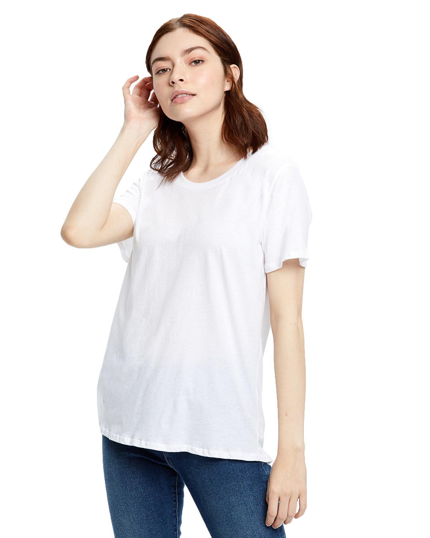 US Blanks Ladies' Short-Sleeve Loose Fit Boyfriend Tee WHITE