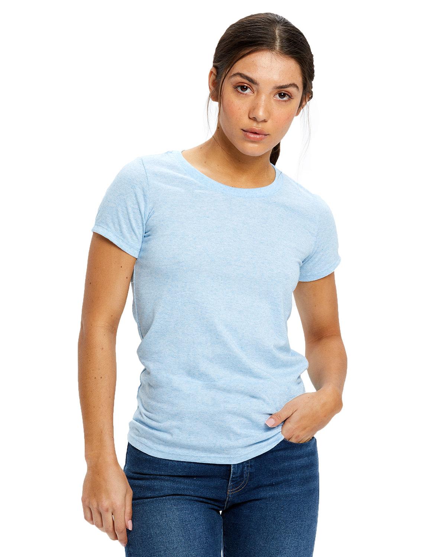 US Blanks Ladies' Short-Sleeve Triblend Crew TRI LIGHT BLUE
