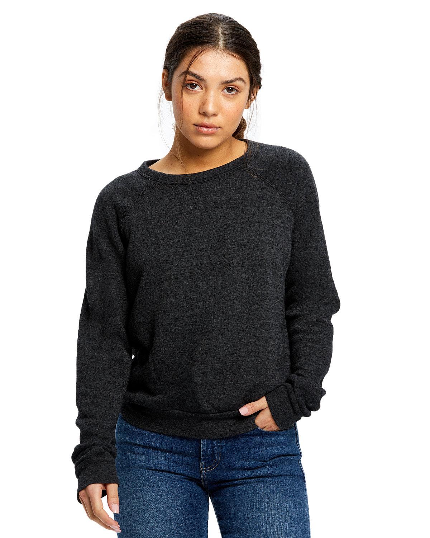 US Blanks Ladies' Raglan Pullover Long Sleeve Crewneck Sweatshirt TRI CHARCOAL