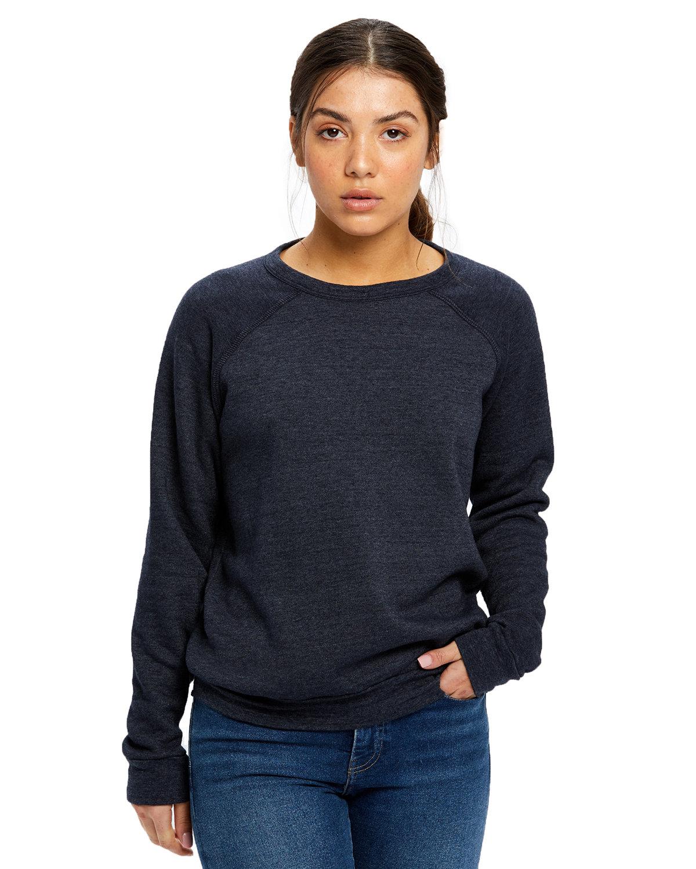 US Blanks Ladies' Raglan Pullover Long Sleeve Crewneck Sweatshirt TRI NAVY