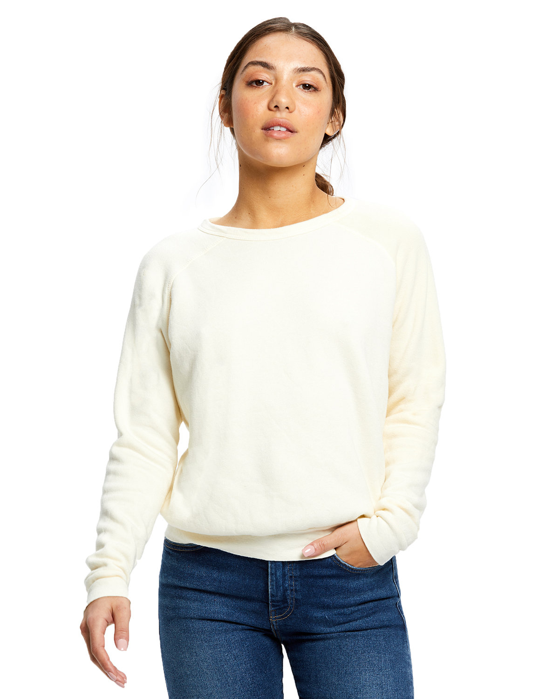 US Blanks Ladies' Raglan Pullover Long Sleeve Crewneck Sweatshirt TRI CREAM