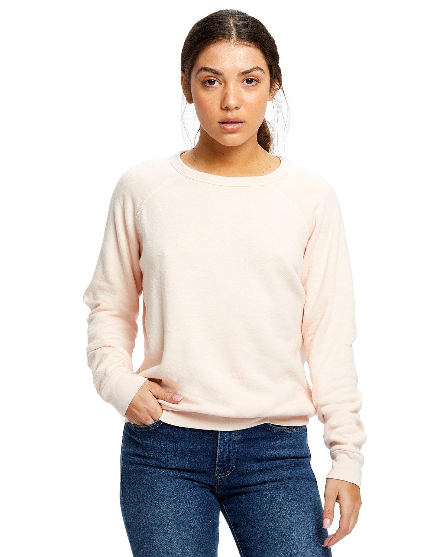 US Blanks Ladies' Raglan Pullover Long Sleeve Crewneck Sweatshirt TRI LIGHT PINK