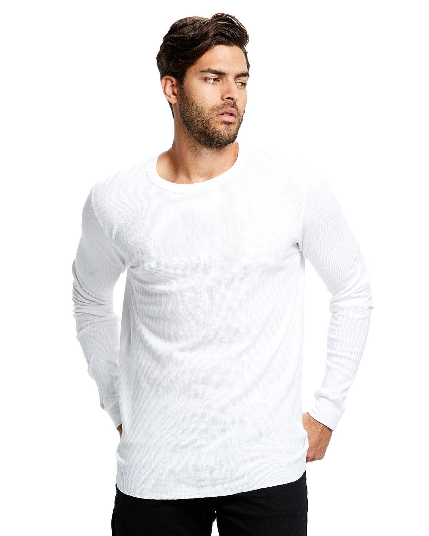 US Blanks Men's 5.8 oz. Long-Sleeve Thermal Crewneck WHITE