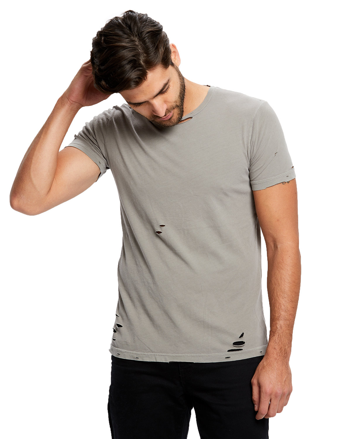 US Blanks Unisex Pigment-Dyed Destroyed T-Shirt PIGMENT CEMENT