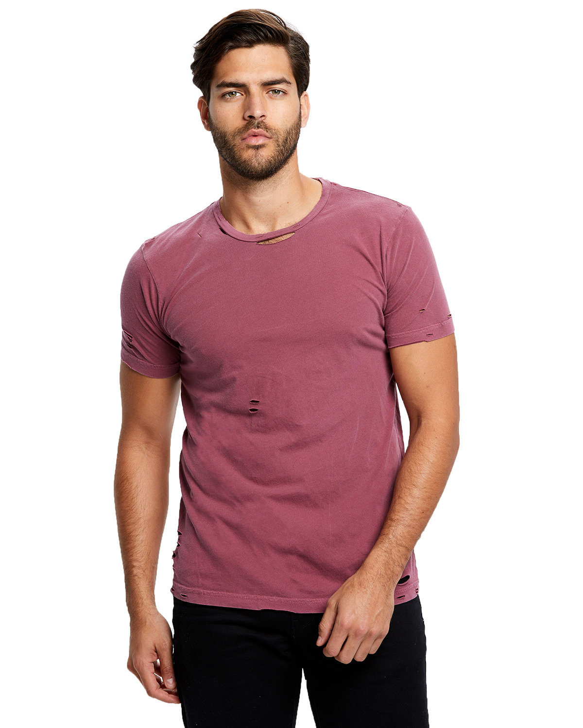 US Blanks Unisex Pigment-Dyed Destroyed T-Shirt PIGMENT MAROON
