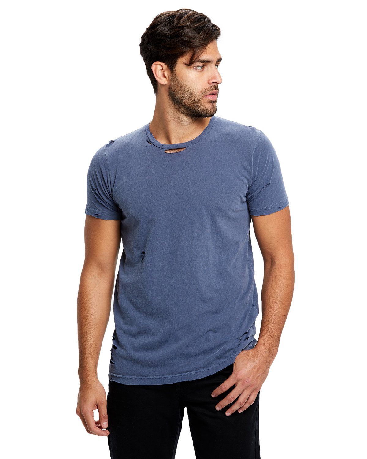 US Blanks Unisex Pigment-Dyed Destroyed T-Shirt PIGMENT NAVY