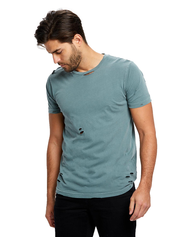US Blanks Unisex Pigment-Dyed Destroyed T-Shirt PGMNT HEDGE GREN