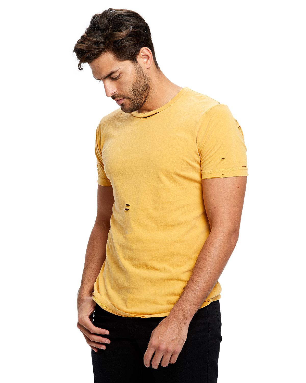 US Blanks Unisex Pigment-Dyed Destroyed T-Shirt PGMNT SUNSET GLD