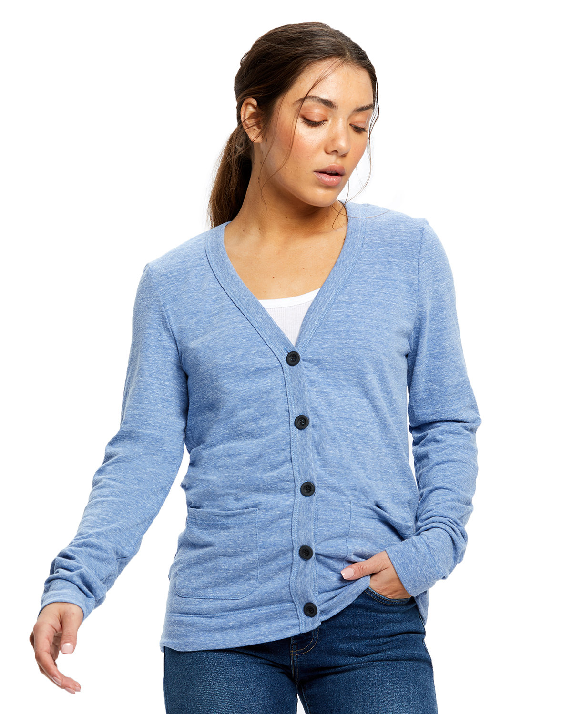 US Blanks Ladies' 4.9 oz. Long-Sleeve Cardigan TRI BLUE