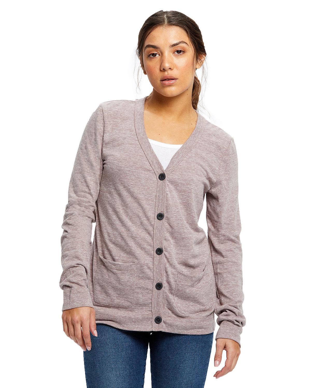 US Blanks Ladies' 4.9 oz. Long-Sleeve Cardigan TRI BROWN
