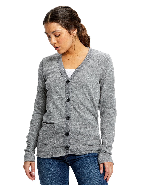 US Blanks Ladies' 4.9 oz. Long-Sleeve Cardigan TRI GREY