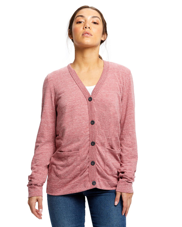US Blanks Ladies' 4.9 oz. Long-Sleeve Cardigan TRI RED