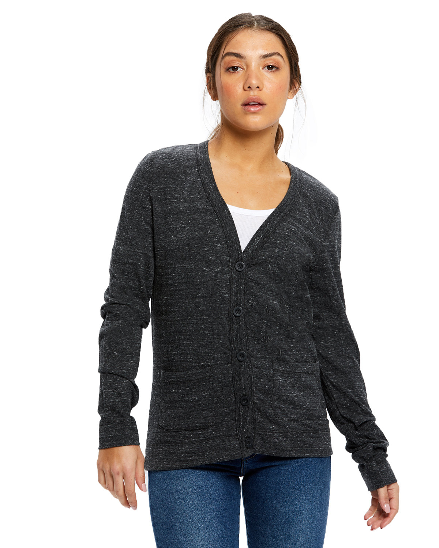 US Blanks Ladies' 4.9 oz. Long-Sleeve Cardigan TRI CHARCOAL