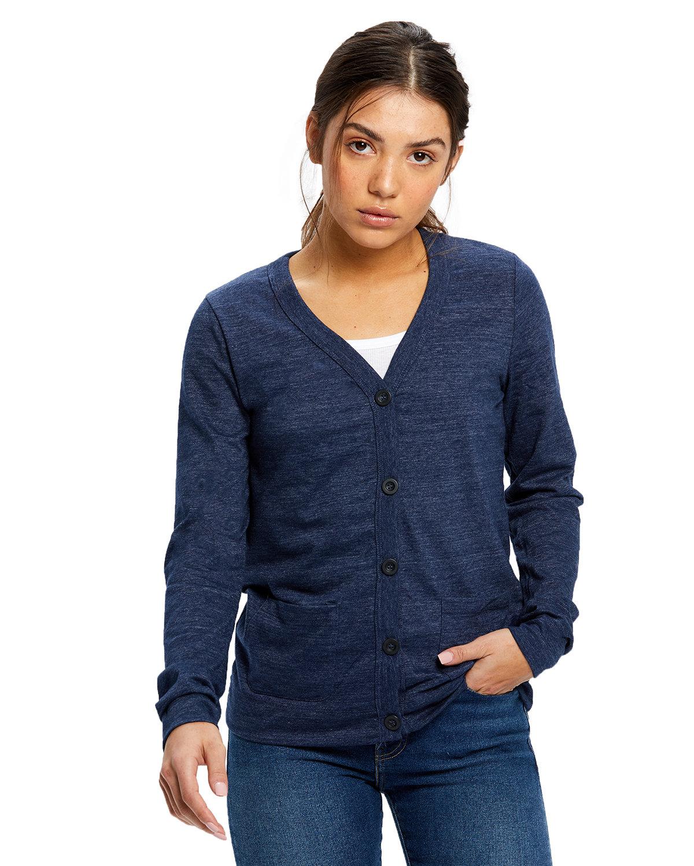US Blanks Ladies' 4.9 oz. Long-Sleeve Cardigan TRI NAVY