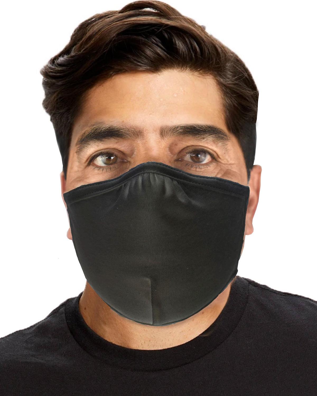 US Blanks Double Layer Cotton/Lycra Adjustable Mask (72 Pack) BLACK