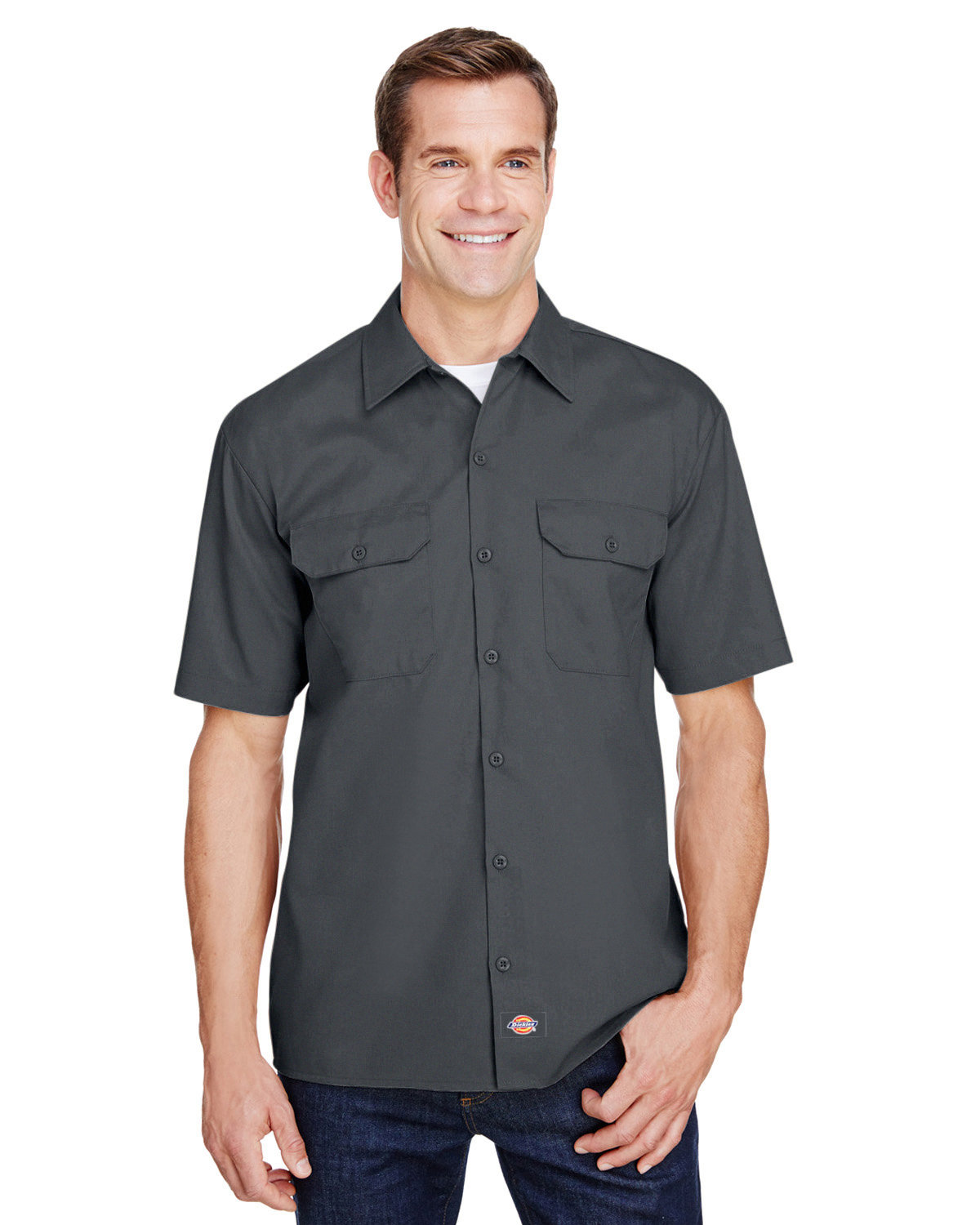 Dickies Men's FLEX Relaxed Fit Short-Sleeve Twill Work Shirt CHARCOAL