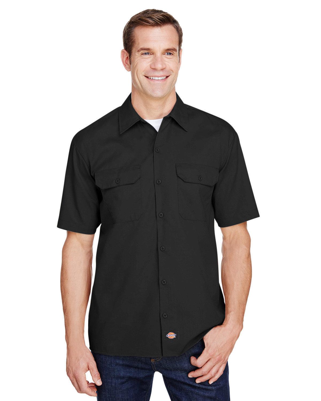 Dickies Men's FLEX Relaxed Fit Short-Sleeve Twill Work Shirt BLACK