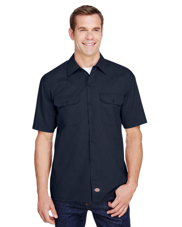 Dickies Men's FLEX Relaxed Fit Short-Sleeve Twill Work Shirt DARK NAVY