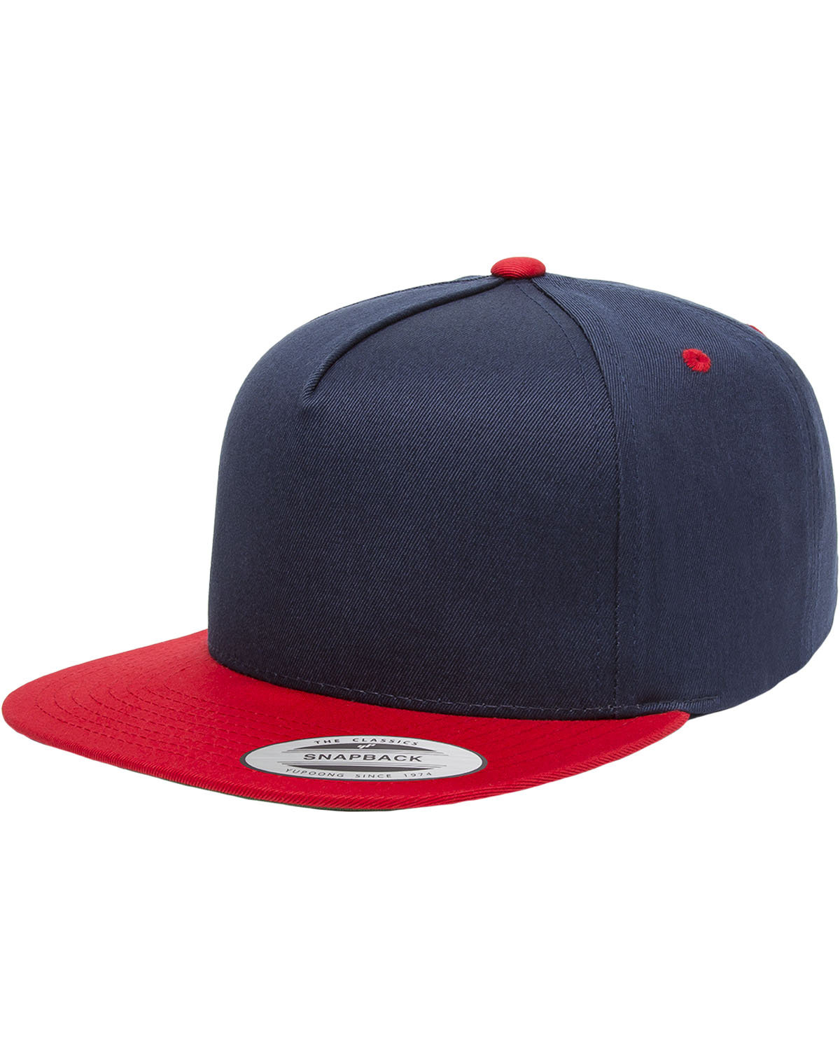 Yupoong Adult 5-Panel Cotton Twill Snapback Cap NAVY/ RED