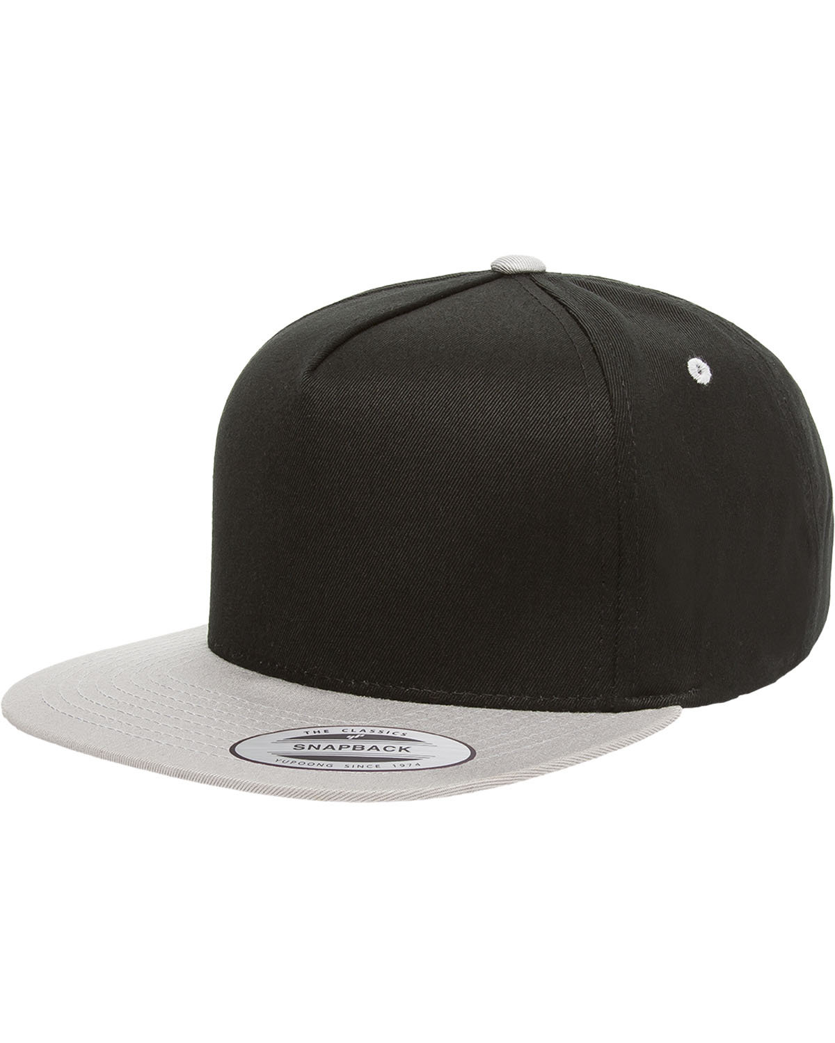 Yupoong Adult 5-Panel Cotton Twill Snapback Cap BLACK/ SILVER