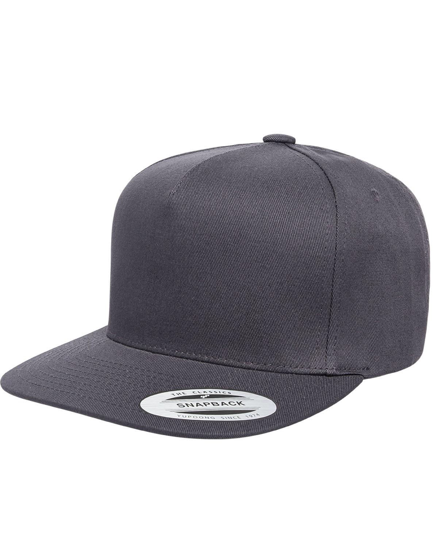 Yupoong Adult 5-Panel Cotton Twill Snapback Cap DARK GREY
