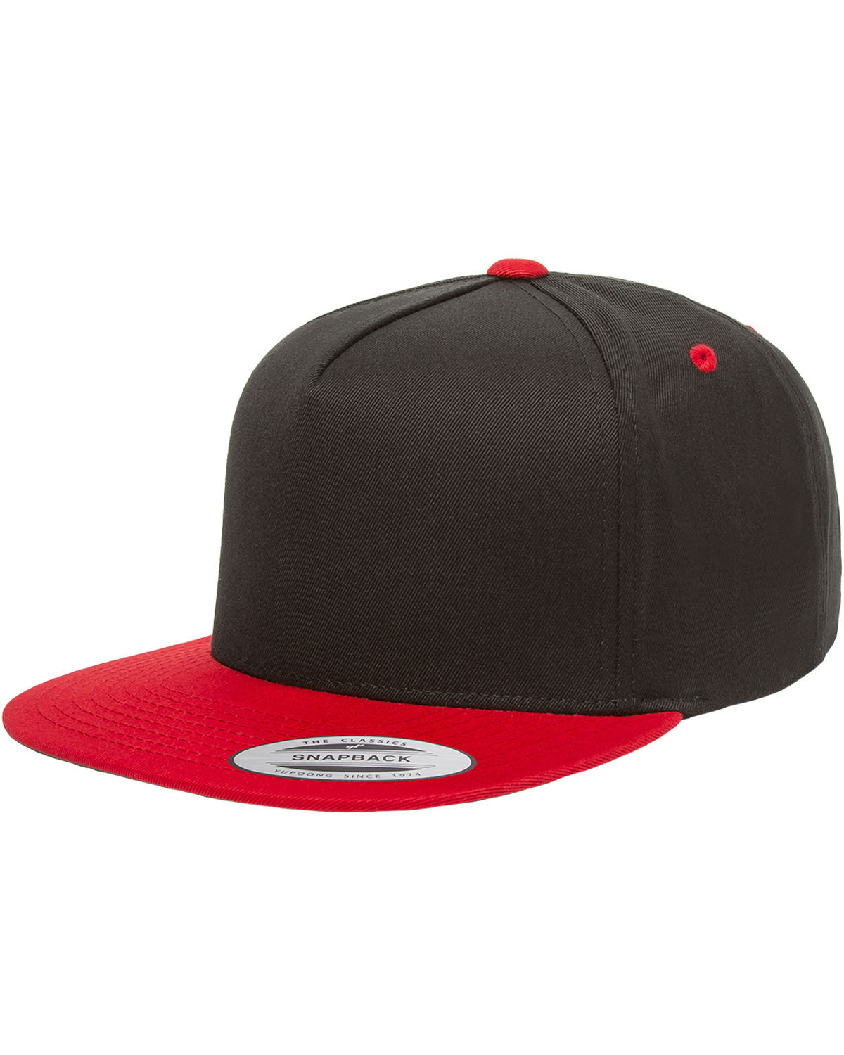 Yupoong Adult 5-Panel Cotton Twill Snapback Cap BLACK/ RED
