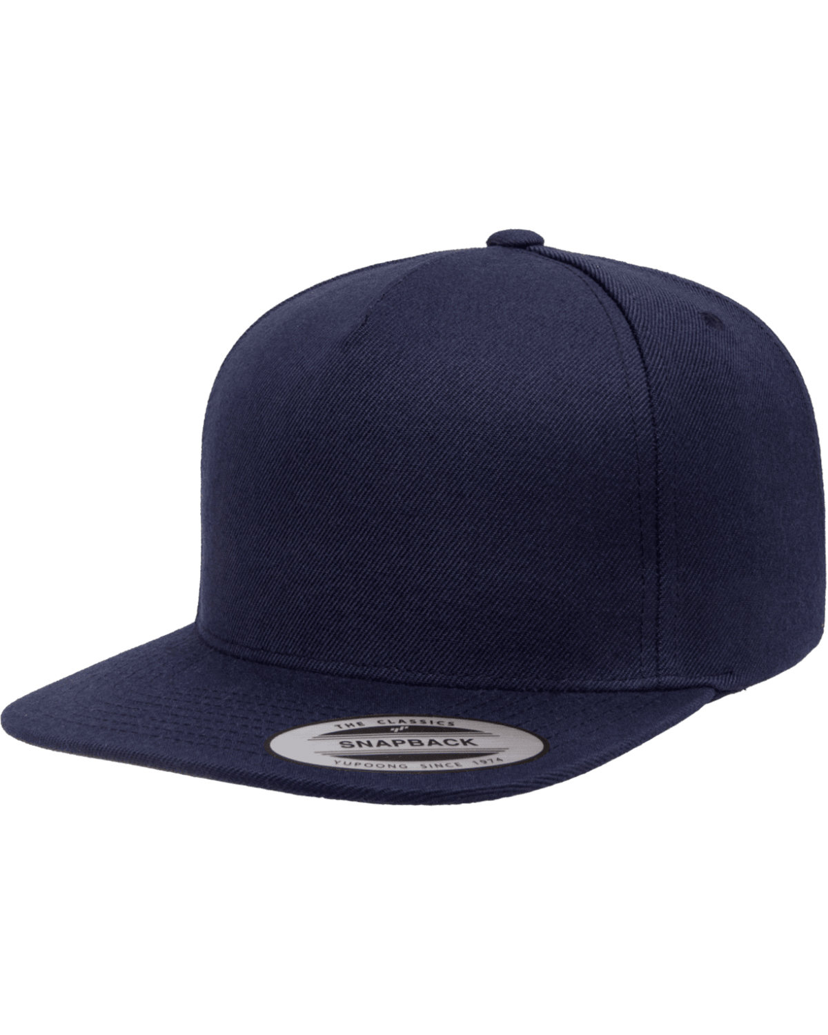 Yupoong Adult 5-Panel Structured Flat Visor Classic Snapback Cap NAVY