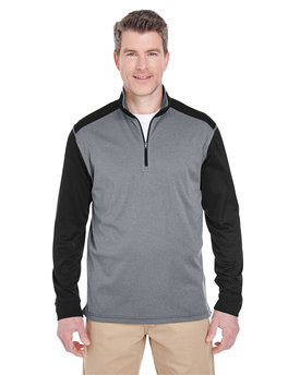 UltraClub Adult Cool & Dry Sport Two-Tone Quarter-Zip Pullover