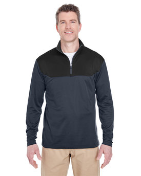 UltraClub Adult Cool & Dry Sport Colorblock Quarter-Zip Pullover