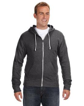 J America Adult Triblend Full-Zip Fleece Hooded Sweatshirt