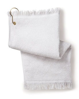 Towels Plus Fringed Fingertip Towel with Corner Grommet and Hook
