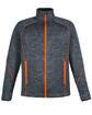 North End Men's Flux Mélange Bonded Fleece Jacket CRBN/ ORNG SODA OFFront