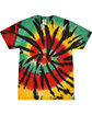 Tie-Dye Adult 5.4 oz., 100% Cotton T-Shirt RASTA WEB FlatFront